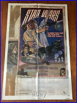 1977 Star Wars Original Movie Poster Style D George Lucas 27x40 One Sheet