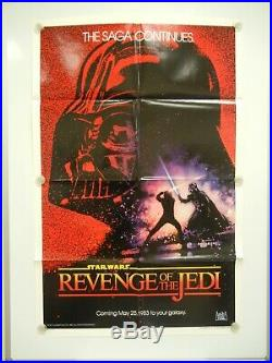 1982 Revenge Of The Jedi Star Wars Original Movie Poster Dated MINT Never Hung