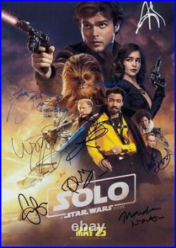 Alden Ehrenreich, Emilia Clarke +6 Cast Signed Solo A Star Wars Story Poster COA