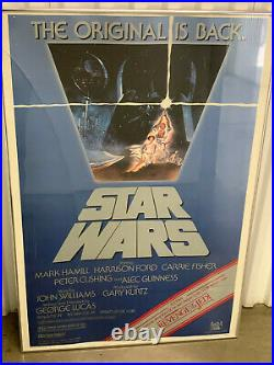 Authentic Star Wars Rolled Movie Poster with REVENGE OF THE JEDI stripe FRAMED'82