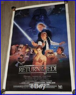 C9! 1983 ORIGINAL RETURN OF THE JEDI STAR WARS Movie Poster 27X41 BLUE HARVEST