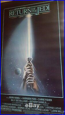 C9.5 RETURN OF THE JEDI ORIGINAL STAR WARS 1983 27x41 MOVIE POSTER BLUE HARVEST