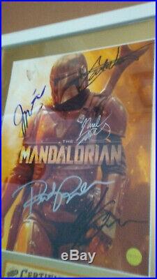 Cast Autographed Poster THE MANDALORIAN STAR WARS 11x17 Plaque + COA