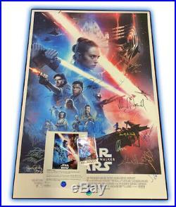 Cast Signed Star Wars Rise of Skywalker Premiere Movie Poster Jedi Mandalorian