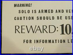 HAN SOLO WANTED Original 1970s Poster, 11 x 17.5, C8.5 Very Fine/Near Mint