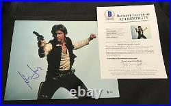 Harrison Ford signed 11x14 photo Star Wars poster BAS Han Solo proof Beckett
