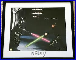 Mark Hamill Dave Prowse signed Star Wars ROTJ 16x20 photo poster MATTED & FRAMED