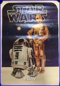 Original. Star Wars 1977 US Original Poster featuring R2D2 and CP30 Unfolded