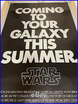 Original, Theatrical, Advance, Teaser Poster for Star Wars! 1977! Rolled