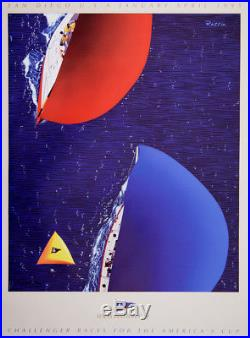 Original Vintage Sailing Poster America's Cup 1995 Louis Vuitton by Razzia Boat