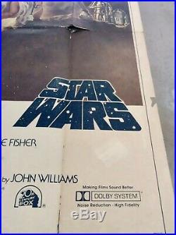 Original vintage Star Wars three 3 Sheet Quad Film Movie Poster 1977