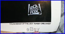 RARE Star Wars 1982 Revenge of the Jedi Original Teaser Poster 41X27