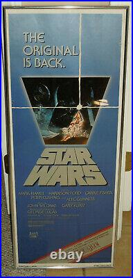 Rare 1982 STAR WARS Re-Release Insert Poster 14x36 (Framed, no holes/fold lines)