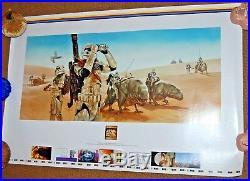 Rare Star Wars DAVE DORMAN 1997 Original UNCUT Lithograph Poster DEWBACK PATROL