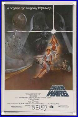 STAR WARS 27x41 ORIGINAL RARE ROLLED MINT 2ND PRINTING HEAVY STOCK MOVIE POSTER