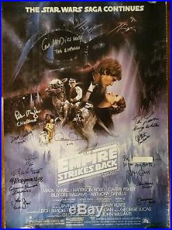 STAR WARS Cast SIGNED Autograph Empire Strikes Poster Harrison Ford Peter Mayhew