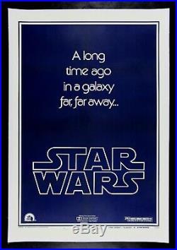 STAR WARS CineMasterpieces 1977 TEASER STYLE B ORIGINAL MOVIE POSTER WITH GAU