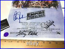 STAR WARS NEW HOPE 7 CAST SIGNED MOVIE POSTER 11x17 WITH COA