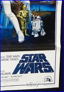 STAR WARS Original 1977 Movie Poster Style C TRI-FOLD MINT Tom Chantrell Art