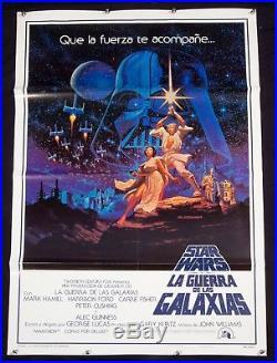 STAR WARS Original 1977 Original SPANISH Theatrical Movie Poster Hildebrandt