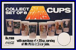 STAR WARS RARE Coca-Cola ADVERTISING STORE DISPLAY MOVIE POSTER + 1977 CUPS