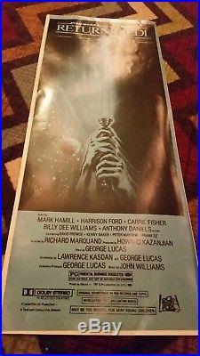 STAR WARS RETURN OF THE JEDI 1983 Style B ORIGINAL Movie Poster INSERT 14 x 36