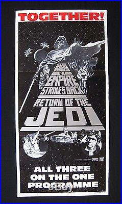 STAR WARS TRIPLE BILL 1985 Original Australian daybill movie poster Darth Vader