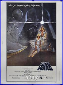 Star Wars 1977 Original 30x40 Linenbacked Movie Poster Harrison Ford Mark Hamill