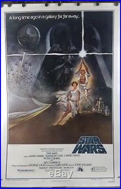 Star Wars 1977 Original US Movie Poster One Sheet Linen Backed Used in Theater