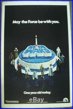 Star Wars 1978 Birthday Cake Anniversary Poster Original Rolled / Kenner
