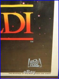 Star Wars 1982 Revenge of the Jedi Original Teaser Poster 41X27. Framed