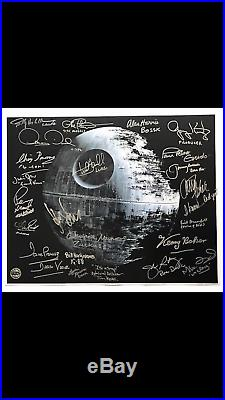 Star Wars 1/2 Built Death Star Full Cast Signed Poster Ford Fisher Hamill Kurtz