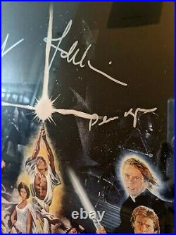 Star Wars 9x Cast Autographed 30-inch Art C Fisher, M Hamill, H Ford, G Lucas +