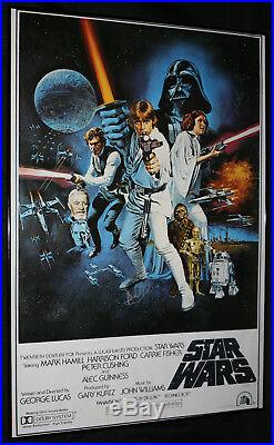Star Wars ANH Poster Autographed by Carrie Fisher and Mark Hamill Signed