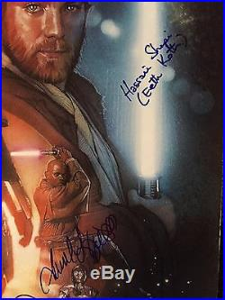 Star Wars Attack Of The Clones Signed 27x41 Poster Christopher Lee Psa Coa