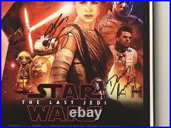 Star Wars Cast Signed 11 X 17 Movie Poster COA Hamill, Driver, Ridley FRAMED