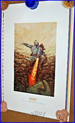 Star Wars DAVE DORMAN 1998 Original UNCUT Lithograph Poster BOBA FETT