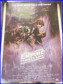 Star Wars Empire Strikes Back Poster Signed by Harison Ford Han Solo no coa