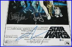 Star Wars Episode IV A New Hope Cast Signed Movie Poster Coa X5 Beckett Coa Bas