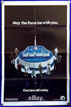Star Wars Original Movie Poster Happy Birthday Style (27x41) Ultra Rare C8 EX
