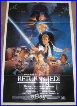 Star Wars Original Return Of The Jedi One Sheet Poster Signed X3 Carrie Fisher