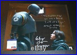 Star Wars Rogue One Signed 16x20 Photo Felicity Jones Alan Tudyk PSA JSA Poster