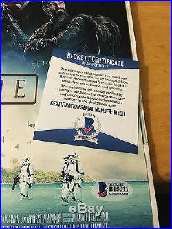 Star Wars Rogue One Signed Movie Poster 12'x18' Beckett BAS forrest yen luna