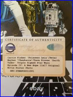 Star Wars Signed 11x17 Mini Movie Poster Carrie fisher, Peter Mayhew, Dave