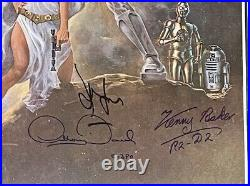Star Wars Signed X8 Original One-Sheet A Movie Poster 27x41 BAS Harrison Ford