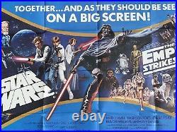 Star Wars / The Empire Strikes Back Orig. 1980 Uk Double-bill Quad Cinema Poster
