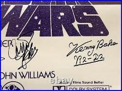 Star Wars cast signed movie poster harrison ford carrie fisher hamill beckett