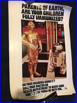 Star Wars original 1977 Mint Condition Immunisation Poster Health Department