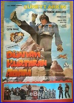 TURKISH STAR WARS Cuneyt Arkin Original Movie Poster 80s