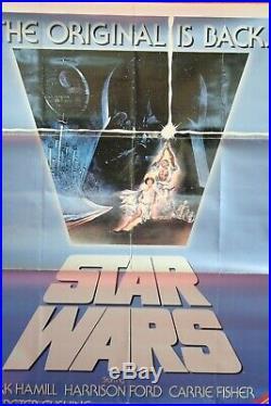 VINTAGE 1982 STAR WARS rerelease REVENGE of the Jedi original movie poster